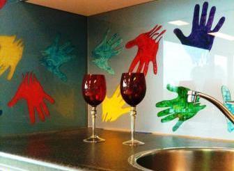 glazen keukenwand kunst